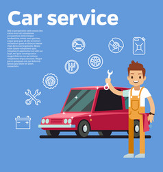 cars tips auto mechanic with vector image