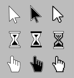 cursor set - mouse hand arrow hourglass vector image