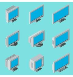 Desktop computer monitor icons vector image vector image