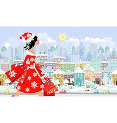 fashion girl santa with purchase in a city vector image vector image