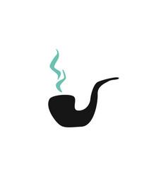 flat black smoking pipe silhouette icon vector image