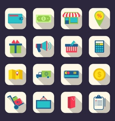 flat icons of e-commerce shopping symbol online vector image vector image