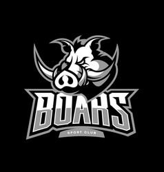 furious boar sport club logo concept vector image vector image