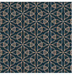 geometric contour pattern with floral elements on vector image