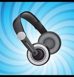 headphones on blue vector image vector image