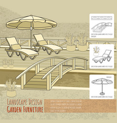 lounge chairs under patio umbrella bridge and vector image vector image