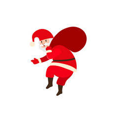Naughty santa claus carrying christmas presents vector