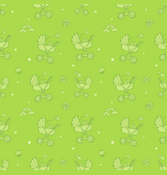 seamless monochrome green pattern with cute baby vector image vector image