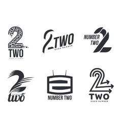 Set of black and white number two logo templates vector image