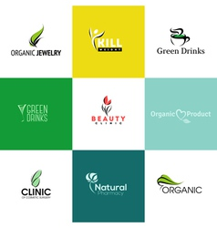 Set of natural and organic products logo templates vector image vector image