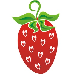 Strawberry love heart vector image vector image