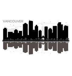 vancouver city skyline black and white silhouette vector image
