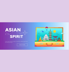 asian spirit - line travel web page header vector image vector image
