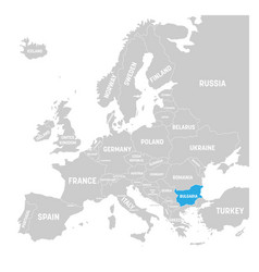 bulgaria marked by blue in grey political map of vector image vector image