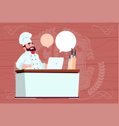 chef cook working at laptop computer cartoon vector image vector image