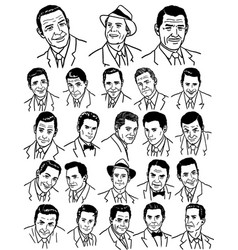 Collection of hand drawn vintage business men vector