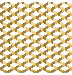 Gold isometric 3d retro cube seamless pattern vector image vector image