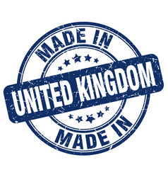 made in united kingdom blue grunge round stamp vector image