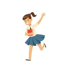 smiling girl character in school uniform running vector image vector image