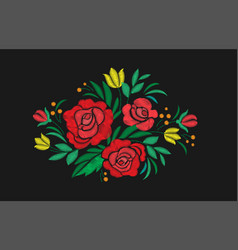 vintage flower composition embroidery elements of vector image vector image