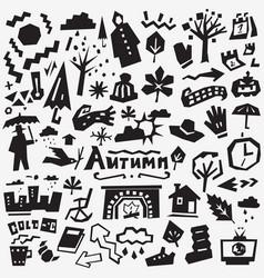 Autumn doodles set vector