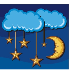 crescent moon with stars in night vector image vector image