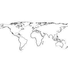 Outline of map of world on white background vector image