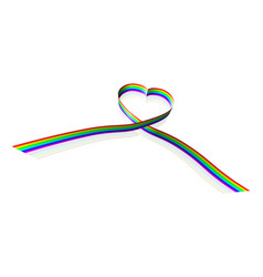 rainbow coloured heart shape ribbon vector image vector image