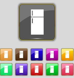 Refrigerator icon sign Set with eleven colored vector image
