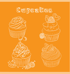 scetch cupcake orange background vector image