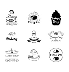 Set of bakery Labels and Badges Cake Cupcake vector image vector image