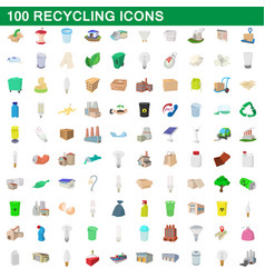 100 recycling set cartoon style vector