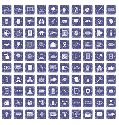 100 security icons set grunge sapphire vector