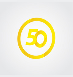50 anniversary celebration circle yellow number vector