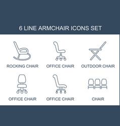 6 armchair icons vector