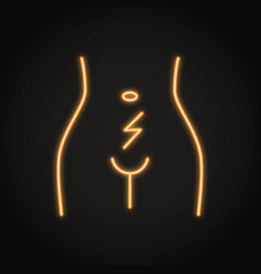 Abdominal cramps and pain icon in neon line style vector