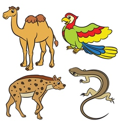animal set hyena lizard parrot camel vector image