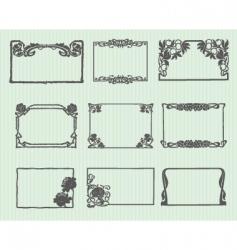 art nouveau horizontal frame set vector image