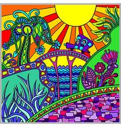 Artistic colored decorative landscape composition vector