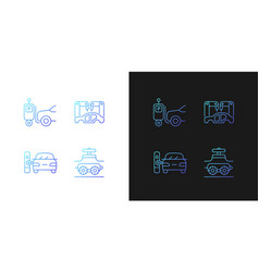 Automation in automobile industry gradient icons vector