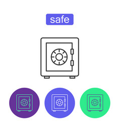 bank safe outline icons set vector image