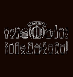 beer objects set isolated on black background vector image