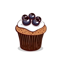 Blueberry Cupcake With Cream vector image