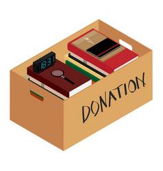 Box full of stuff donation concept vector
