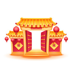 buddhist china temple with opened gates for cny vector image