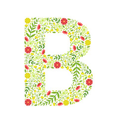 Capital letter b green floral alphabet element vector