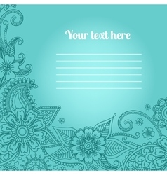 Card with floral paisley pattern vector image