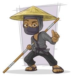 Cartoon black Asian ninja in mask vector