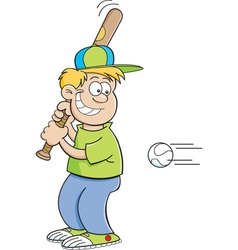 Cartoon boy hitting a baseball vector
