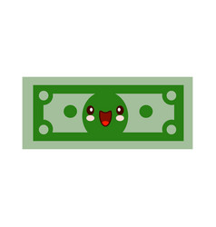 cartoon money character smiling kawaii face self vector image